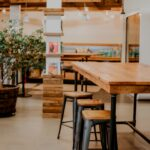 Wood decor and furnitures in cafe